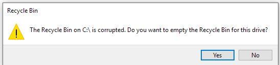 Windows 10 corrupted Recycle bin - Microsoft Community