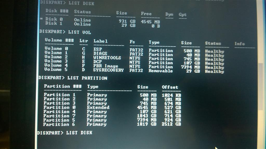 reset disk diskpart