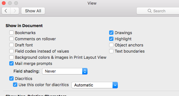 How Do I Re Enable DiacriticsUse This Color Word 2016 Mac
