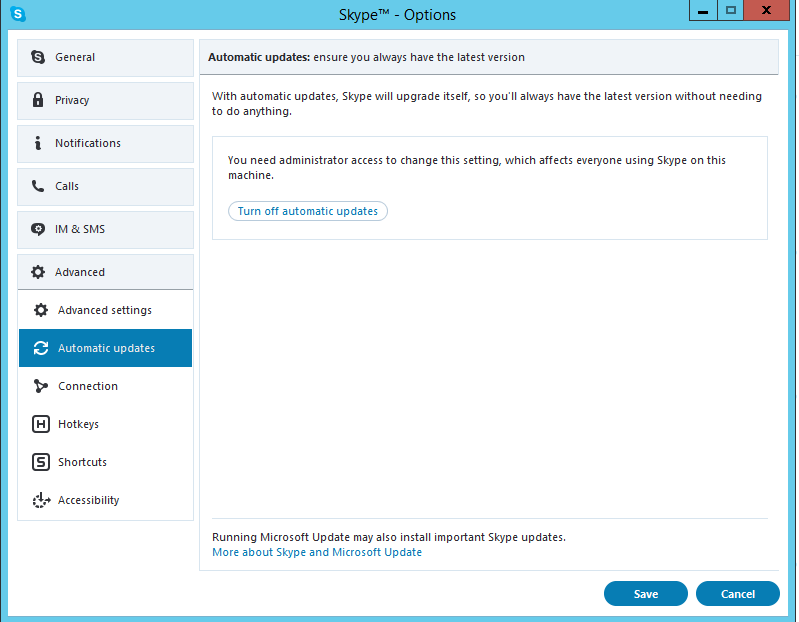 How to disable auto updates on older skype (Classic Skype