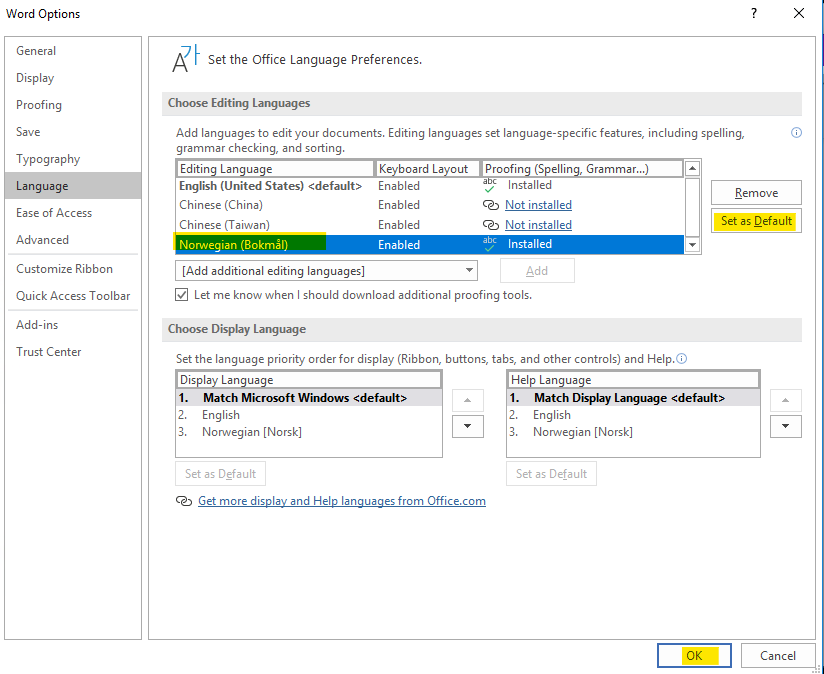 Global proofing language, OneNote and other office apps