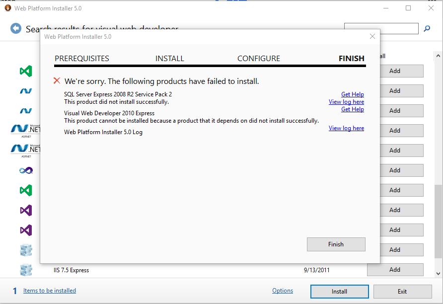 Visual Web Developer Installation Problem Training Certification