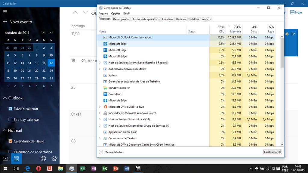 Calendário do Windows originando um processo que consome ...