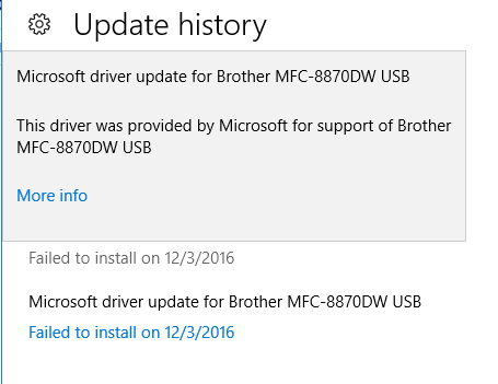 Microsoft Driver Update for Brother MFC-8870DW USB Keeps