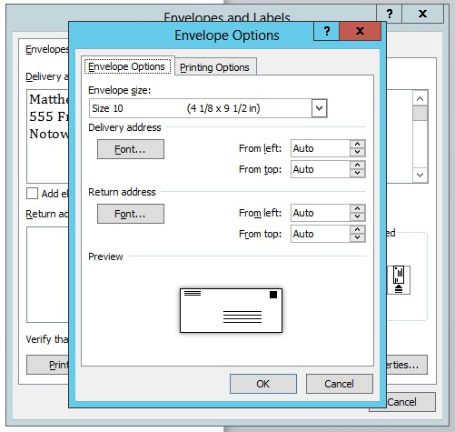 Word - Envelopes and Labels - Printing issue - Microsoft