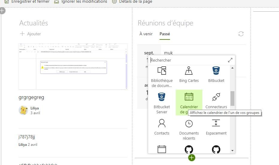 Afficher le calendrier d'un user o365 dans une page