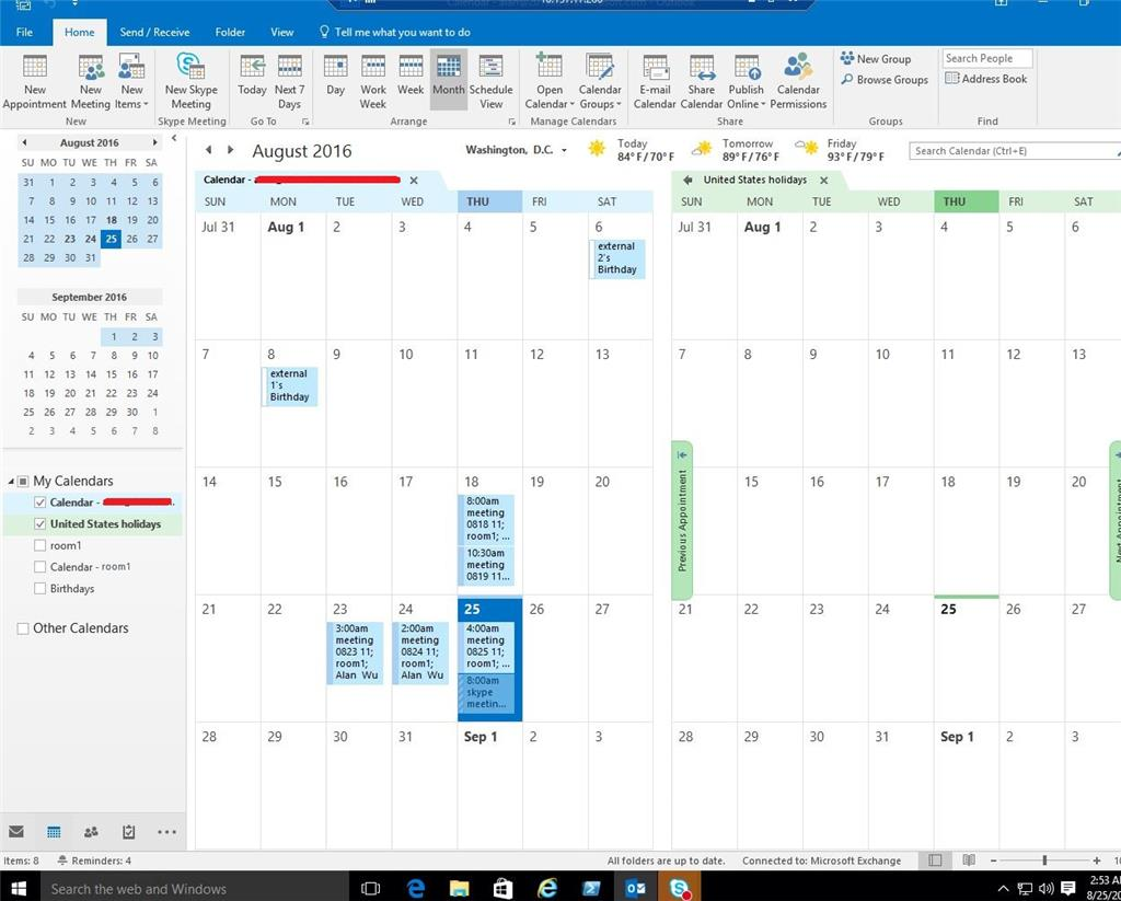 microsoft outlook cannot view shared calendar blue box issue