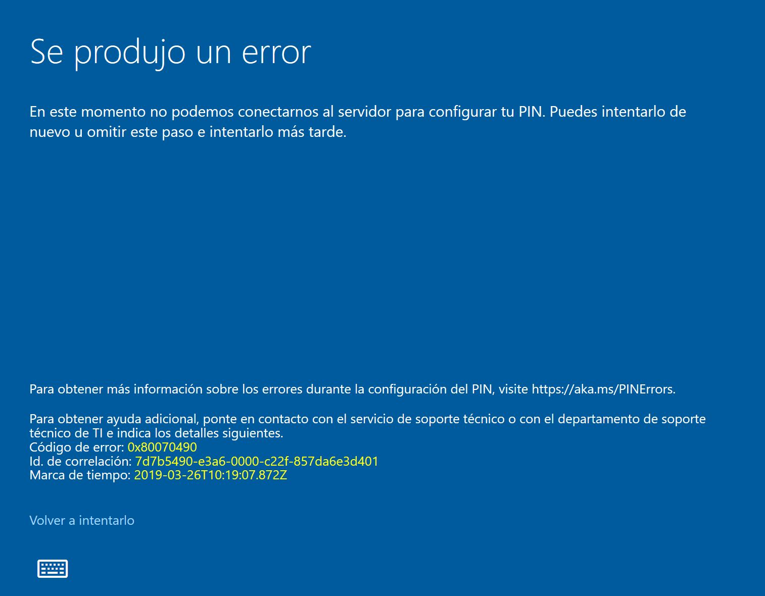 Windows 10 ≡ Error al crear PIN en Hello  - Microsoft Community
