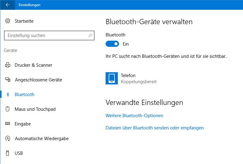 Bluetooth Windows 10 Verschwunden