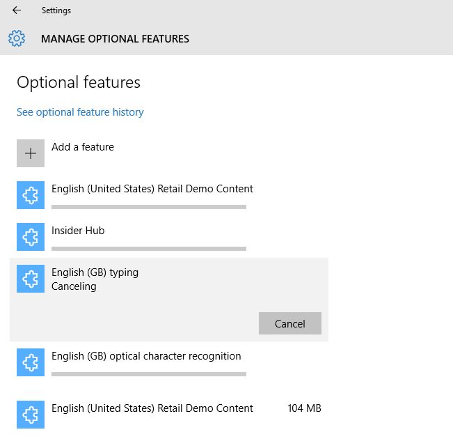 How to stop optional features from downloading and installing in Win
