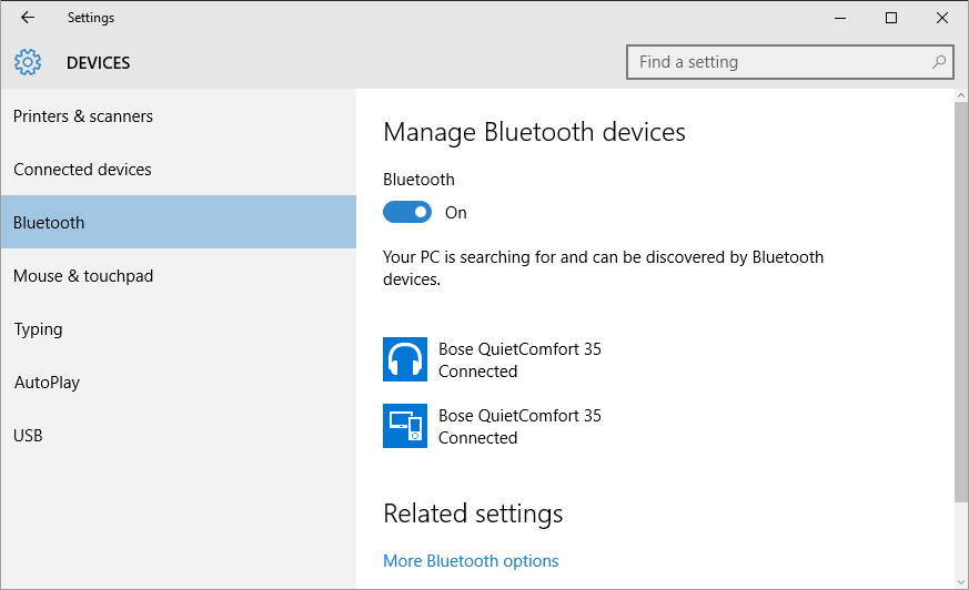 Bluetooth disconnected in the sound playback devices on windows 10 my new bose headphones show as connected in windows 10 bluetooth settings ccuart Gallery