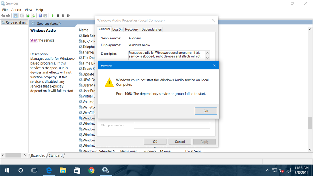 how to start audio service in windows 8