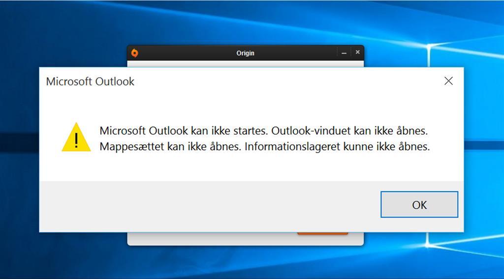 outlook 2013 vil ikke starte