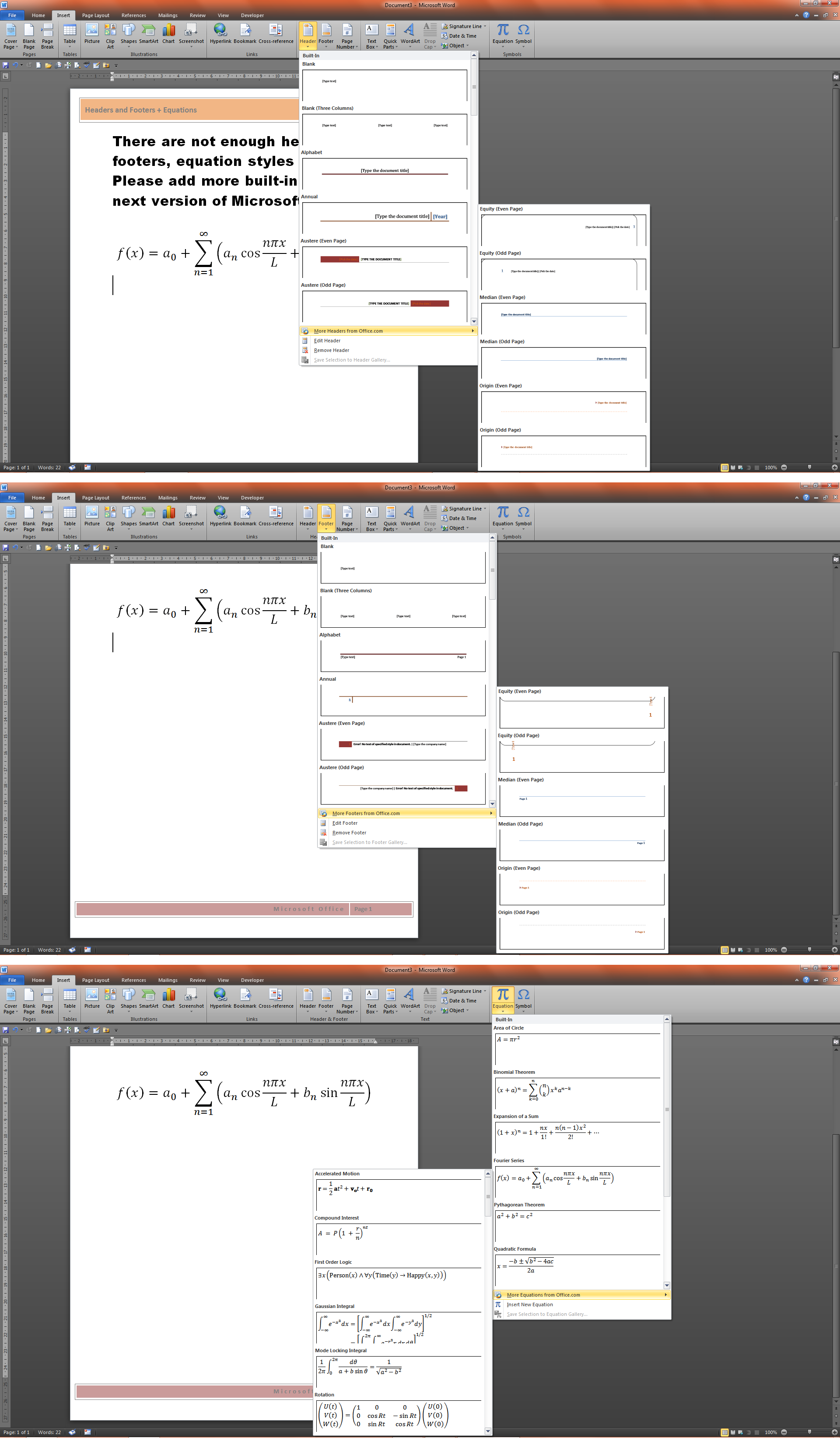 add more headers and footers equations cover pages and text box