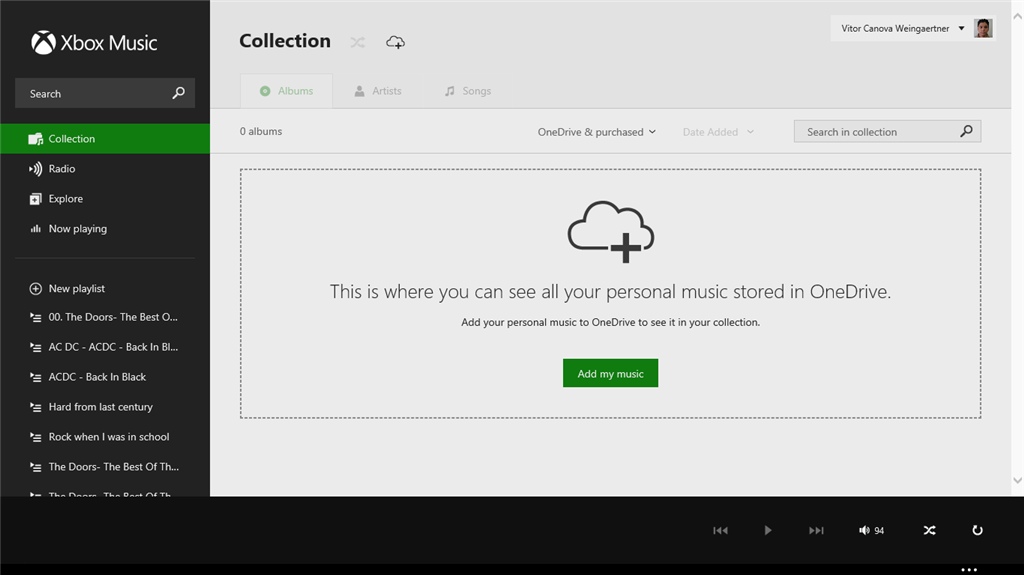 music xbox com does not show my OneDrive music folder