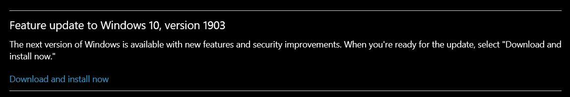 Upgrading to Windows 10 v1903 from v1809 - Microsoft Community