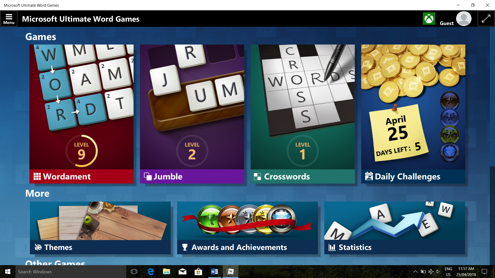 Some Microsoft Casual Games interface text and icons too