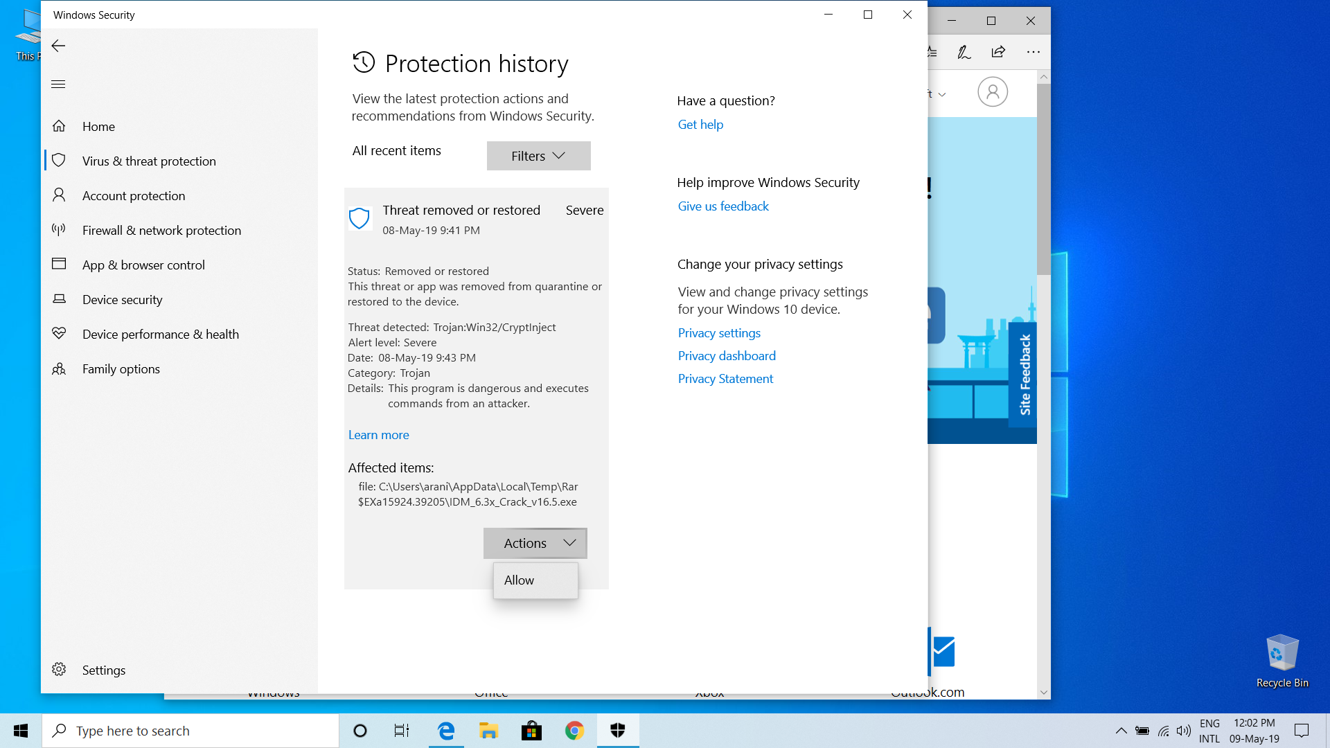 Unable to clear protection history manually in windows