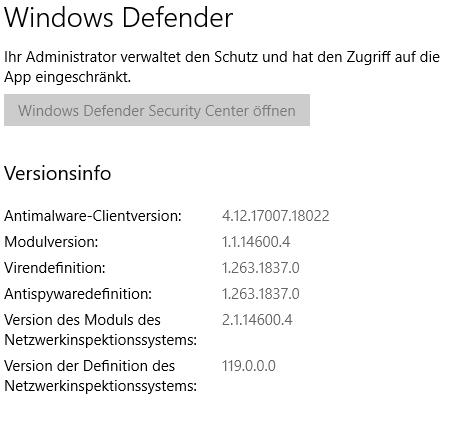 Windows Defender wird vom Administartor verwaltet und hat den Zugriff auf die App eingeschränkt