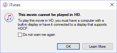 iTunes purchased HD movies won't play - HDCP error