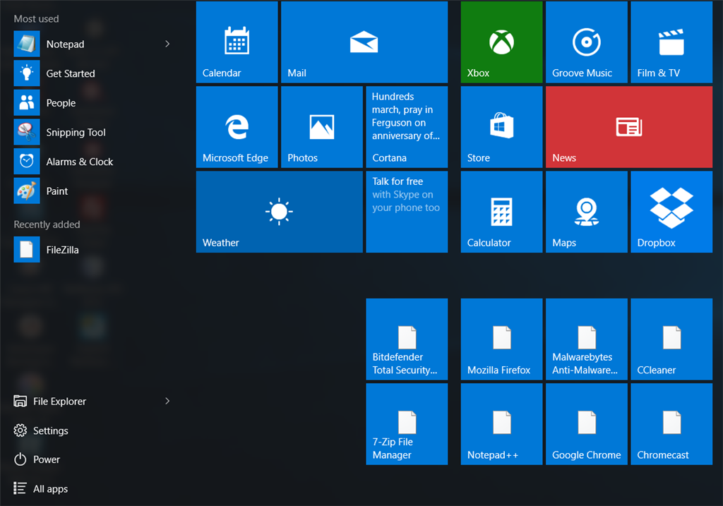 windows 10 tiles are blank white with no thumbnail icons