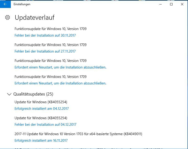 funktionsupdate für windows 10 version 1709 lässt sich nicht installieren