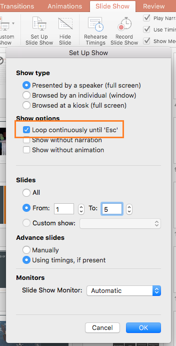 how to repeat powerpoint slideshow automatically