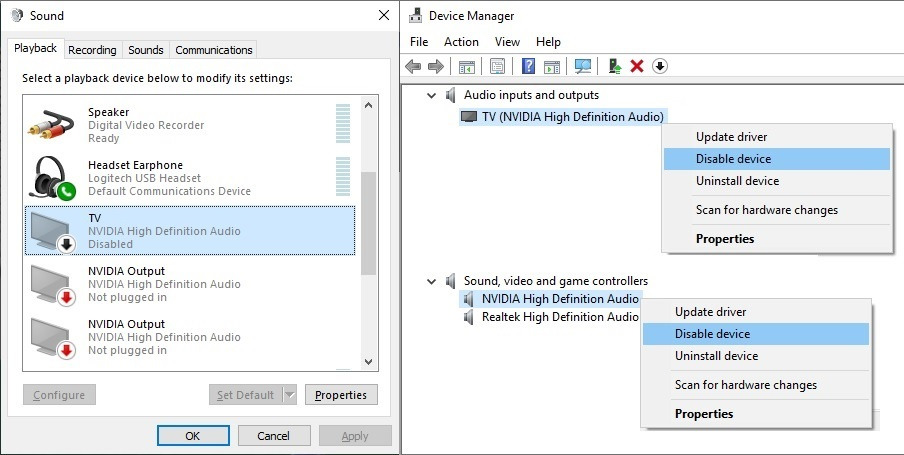 skype audio lost when using an HDMI connection to a projector