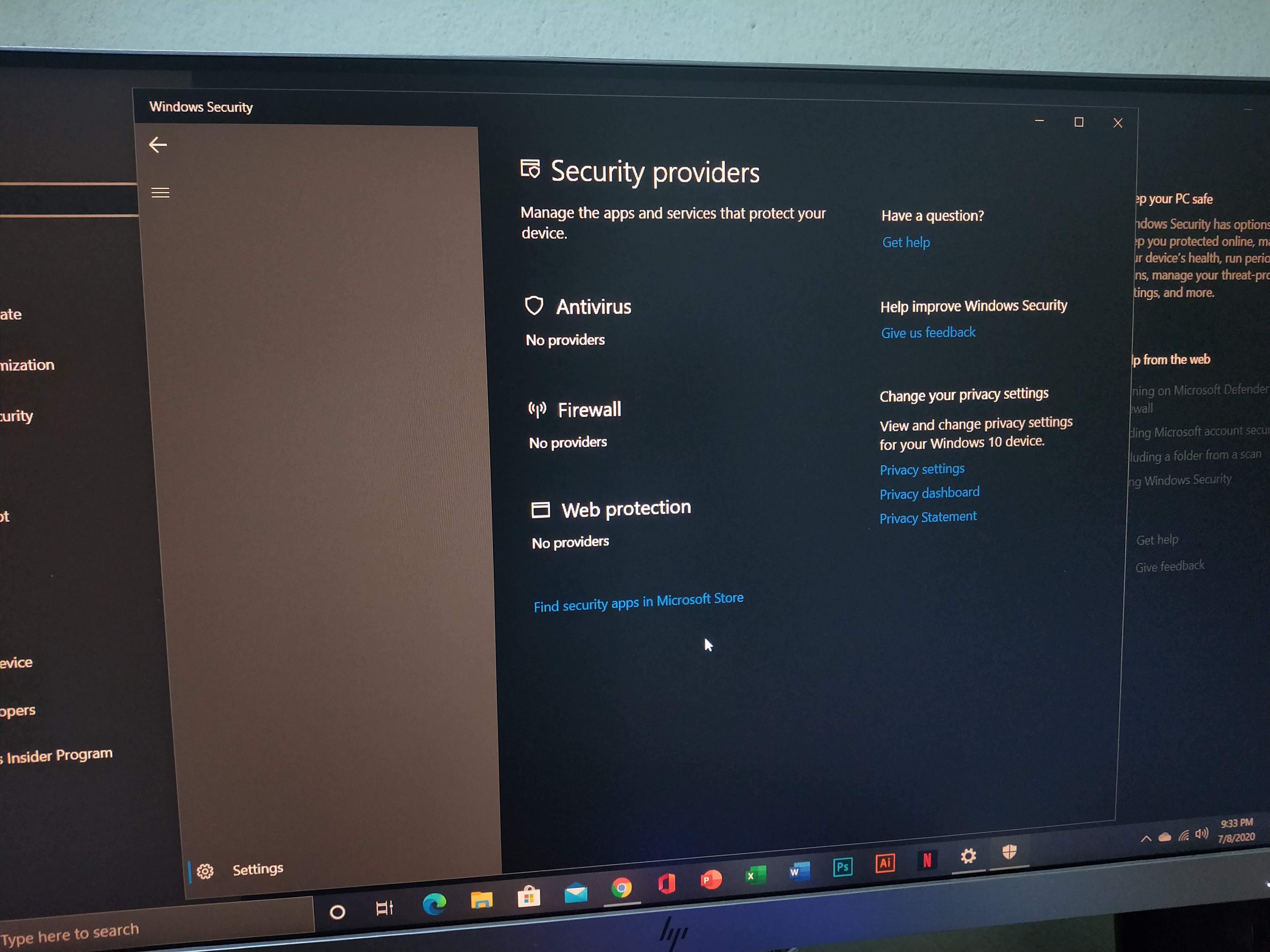 My windows 10 security settings don't appear. - Microsoft Community