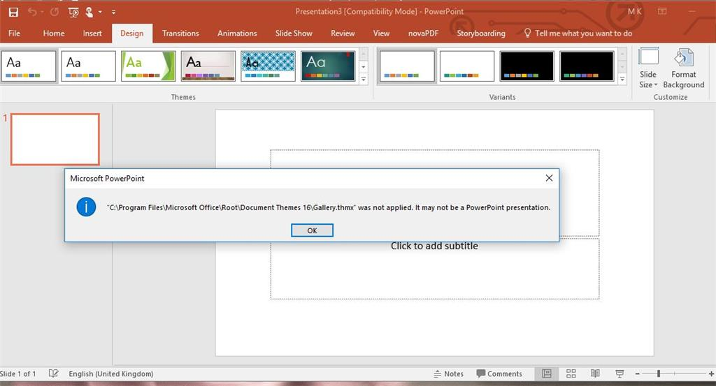 powerpoint 2016 error that theme was not applied microsoft community