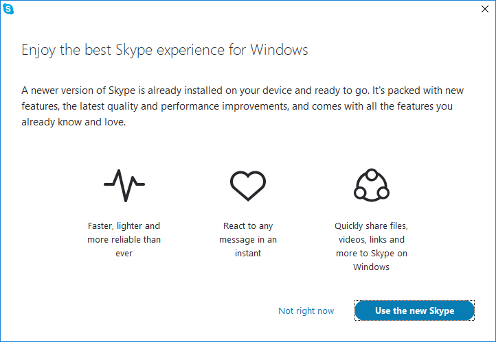 How to remove the Skype nag window to update to the Desktop