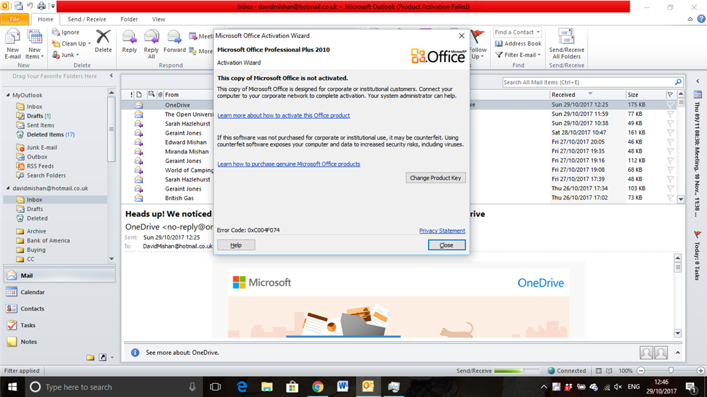 microsoft outlook license expired