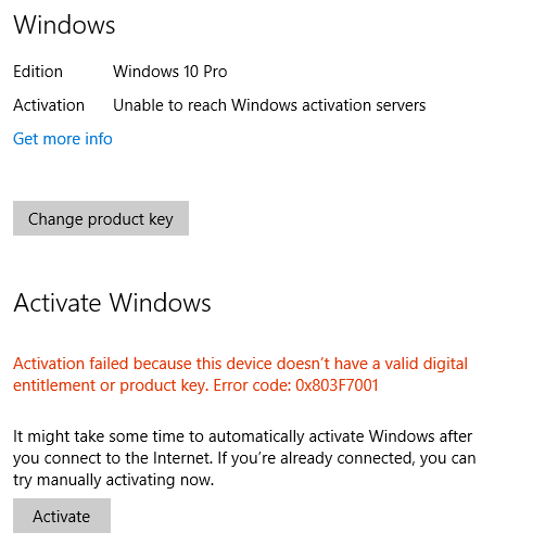 Unable to reach windows activation servers microsoft community then i made a clean installation to change the architecture from32 bit to 64bit then when i tried to activate it manually it says image ccuart Image collections