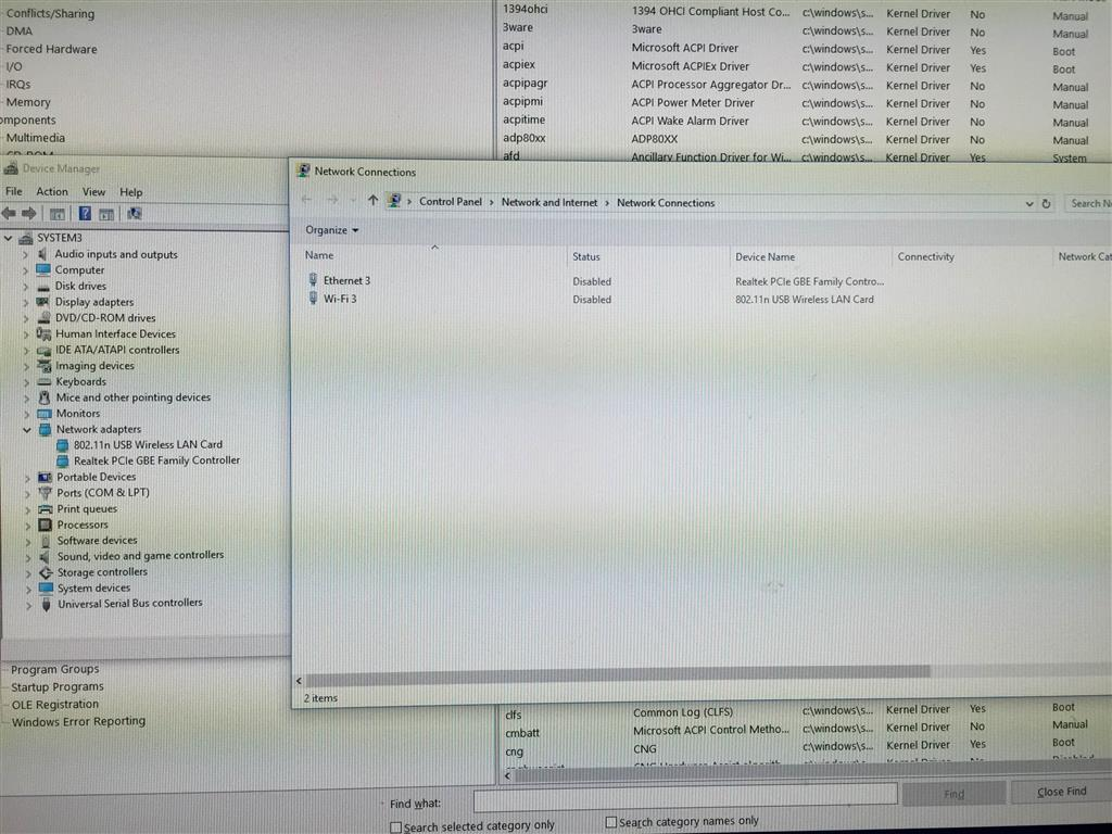 Windows 10 Network Adapters Disabled in Network Connections