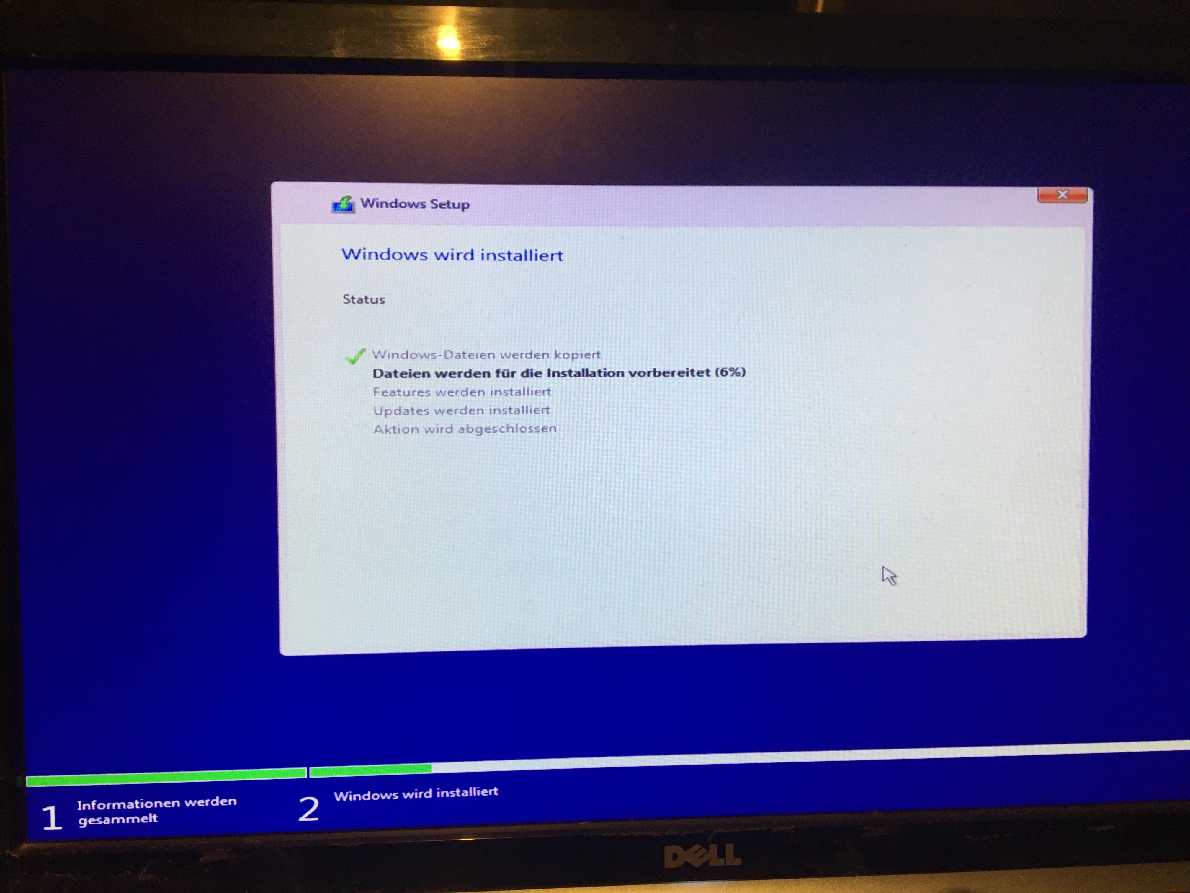 Windows Installation hängt sich auf