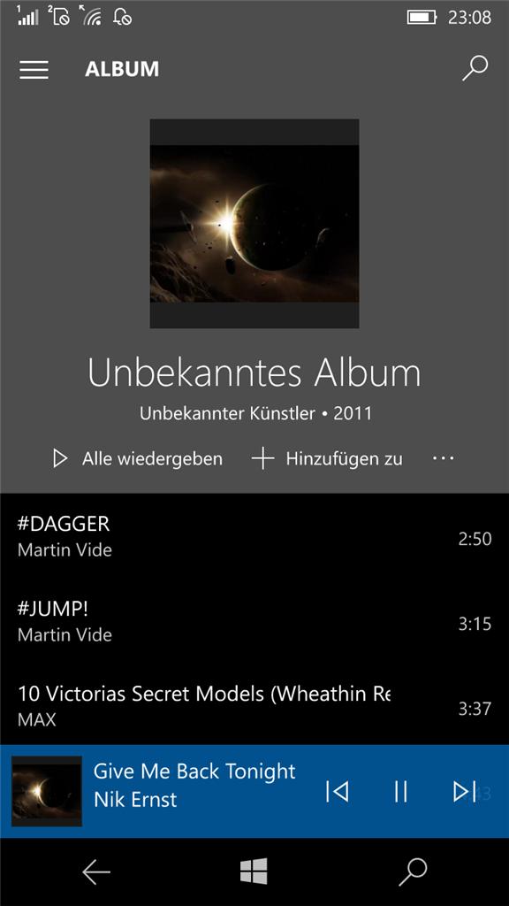 Groove-Music Auf Windows Phone 10 Zeigt Nur