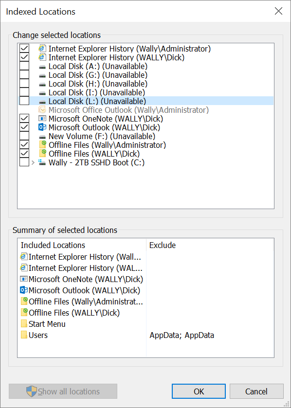 Drive missing from Indexing Options Modify window