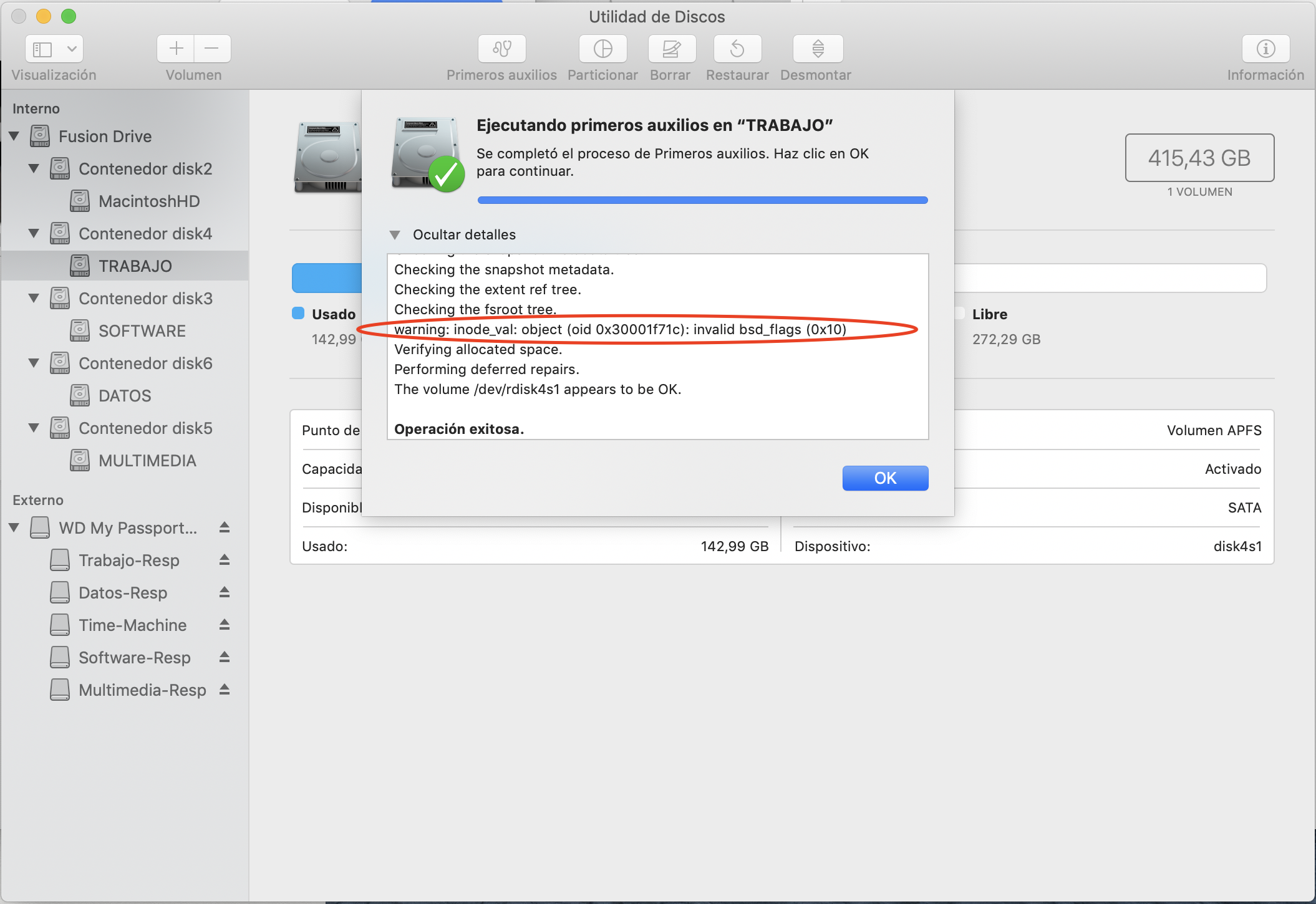 Disk Utility warnings in OS X Mojave and OneDrive for mac