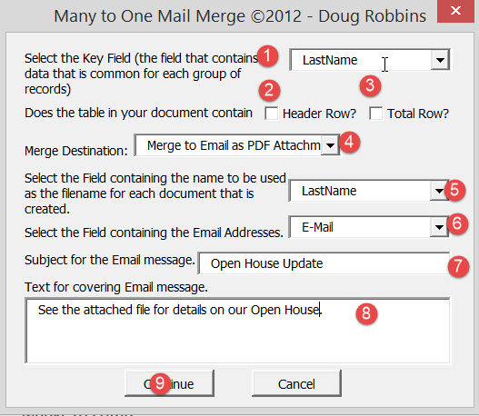 Mail Merge to Email with Mail Format, Attachment, being a