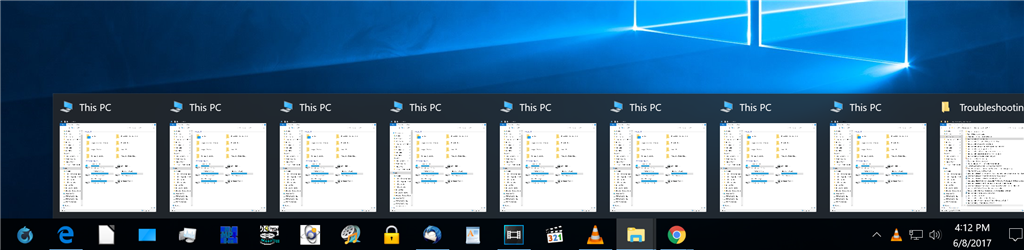 Windows 10 Taskbar preview thumbnail icons not displaying properly