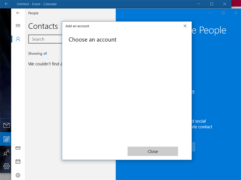 Windows 10 - Mail, Calendar and Contacts won't show ANY