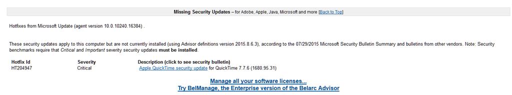 Quicktime Hotfix HT204947 missing in Windows 10 Pro (64 bit