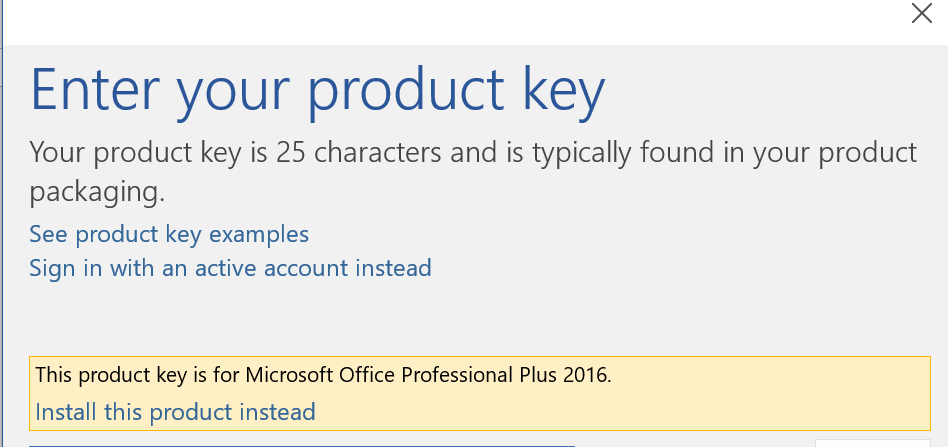 change your product key office 2016