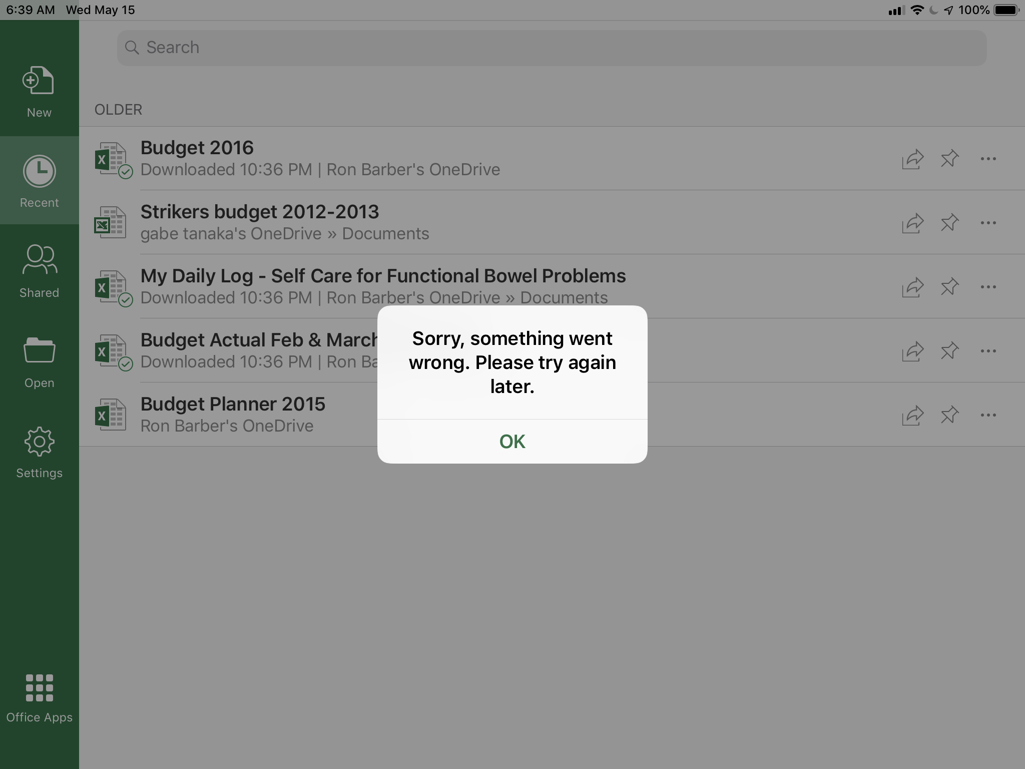 Microsoft Excel,Word and Powerpoint will not open on my iPad