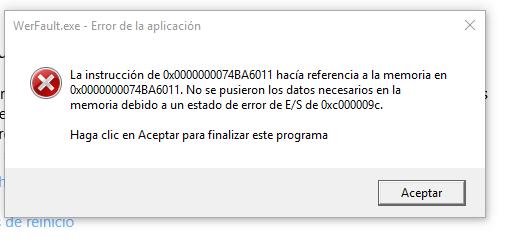 werfault.exe error aplicacion windows 7