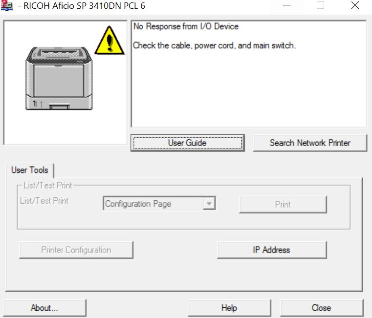 Annoying Smart monitor pop window of Ricoh sp printer