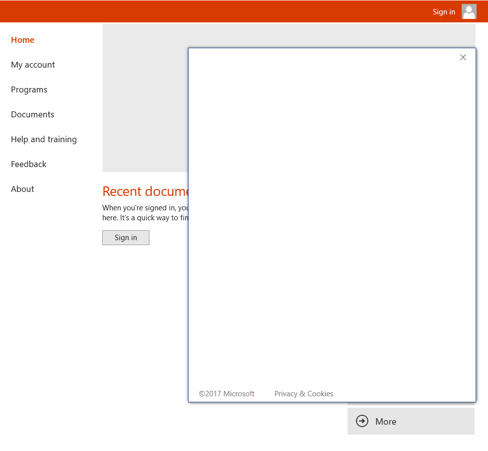 Sign in screen is blank in office 2016 - Microsoft Community