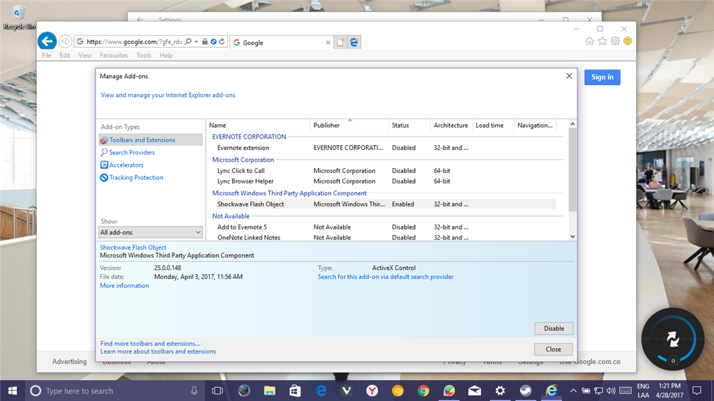 Adobe Flash Player (Activex) for Internet Explorer and Edge