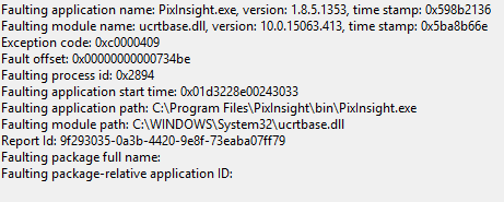 Pixinsight fails to open after displaying to a second monitor via