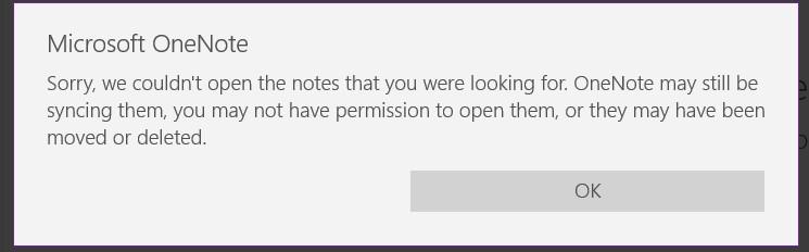 Microsoft OneNote Not Working Error